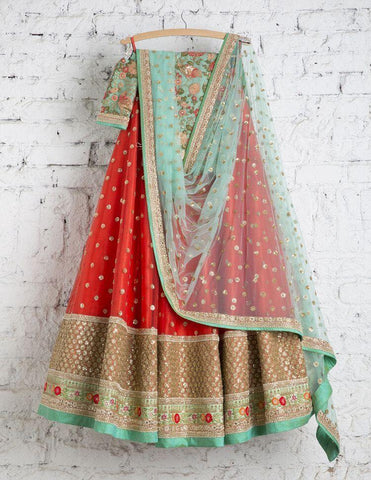 Designer Orange Color Embroidered Semi-stitched Weding Lehenga Choli