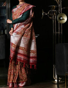 Beautiful Dark Chiku Color Digital Printed Saree MS-1003