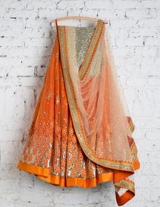 Awsome Orange Color Embroidered Semi-stitched Party Wear Lehenga Choli