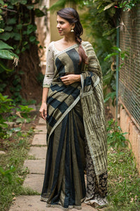Awsome Dark green colour Linen Digital printed Saree MS-1038