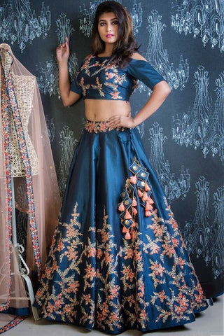 Awsome Designer Blue Color Embroidered Semi-stitched Party Wear Lehenga Choli