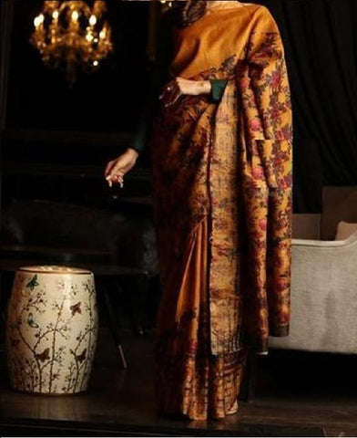 Beautiful Mustered Yallow Color Linen Digital Printed Saree MS-1005