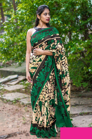 Black And Green colour Linen Digital printed Saree MS-1102