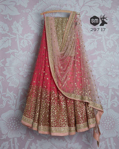 Beautiful Pink Color Embroidered Semi-stitched Party Wear Lehenga Choli