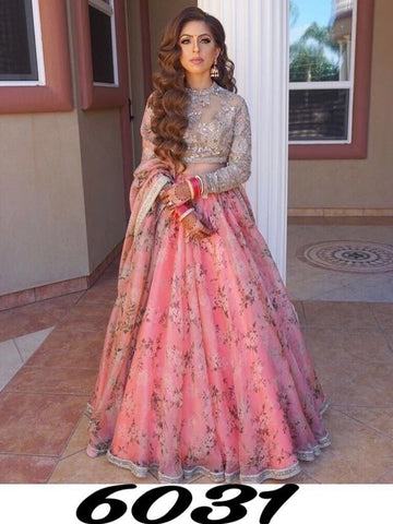 Wedding Designer Peach Color Embroidered Semi-stitched Lehenga Choli