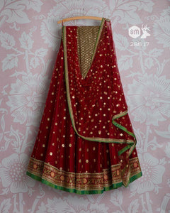 Maroon Color Embroidered Semi-stitched Wedding - Party Wear Lehenga Choli