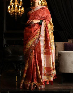 Awsome Light Orange Color Digital Printed Saree MS-1008
