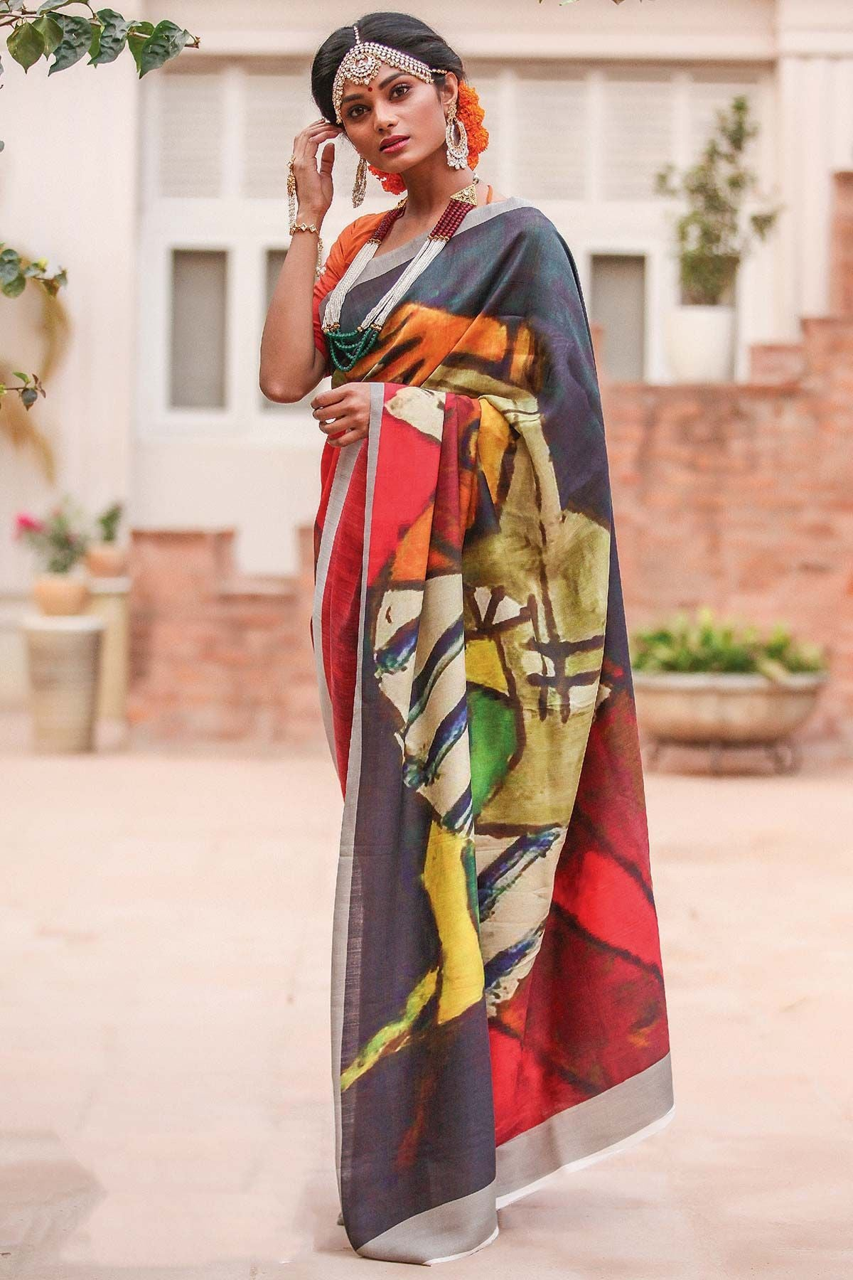 Lovely Multi Color Linen Digital Printed Saree MS-1134