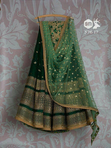 Beautiful Green Color Embroidered Semi-stitched Weding - Party Wear Lehenga Choli