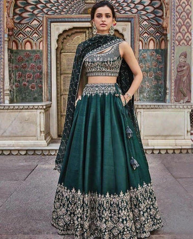 Beautiful Dark Green Color Embroidered Semi-stitched Party Wear Lehenga Choli