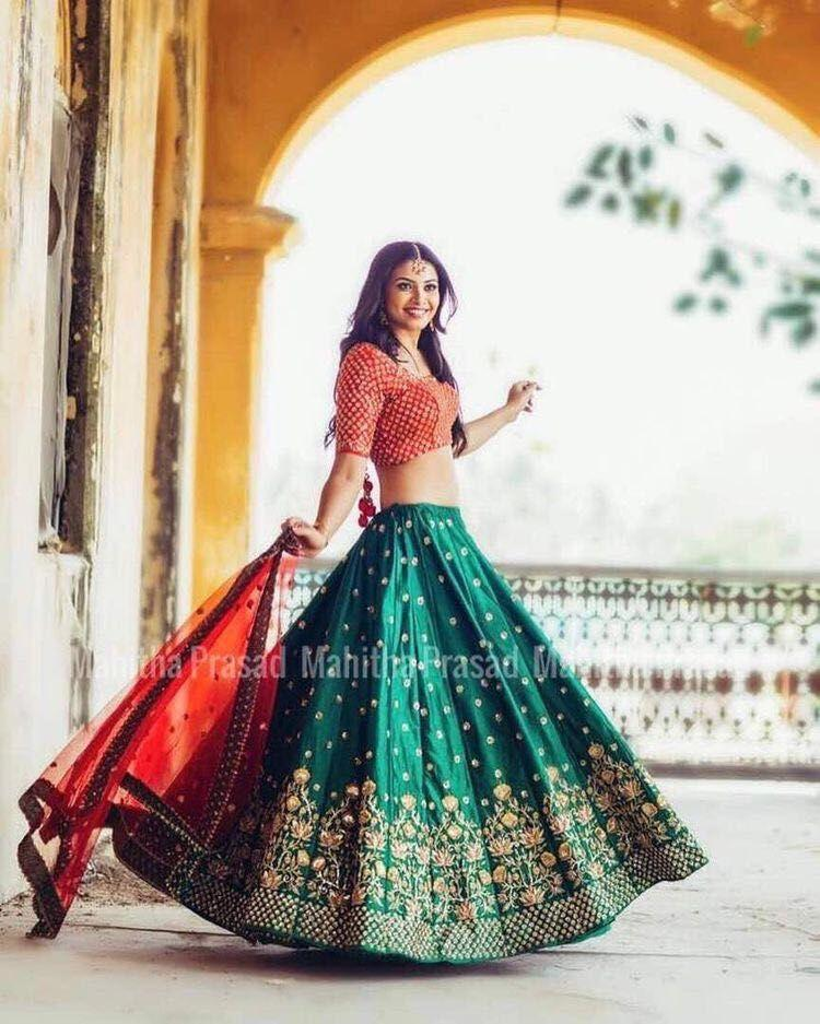 Awsome Green Color Embroidered Semi-stitched Party Wear Lehenga Choli