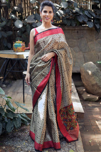 Partyware Black And Dull Gold colour Linen Digital printed Saree MS-1099