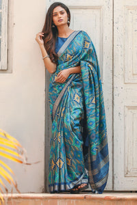 Beautiful Sky Blue Color Linen Digital Printed Saree MS-1135