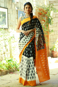 Black,White And Gray colour Linen Digital printed Silk Saree MS-1101