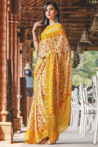 Party Yallow Color Linen Digital Printed Saree MS-1138