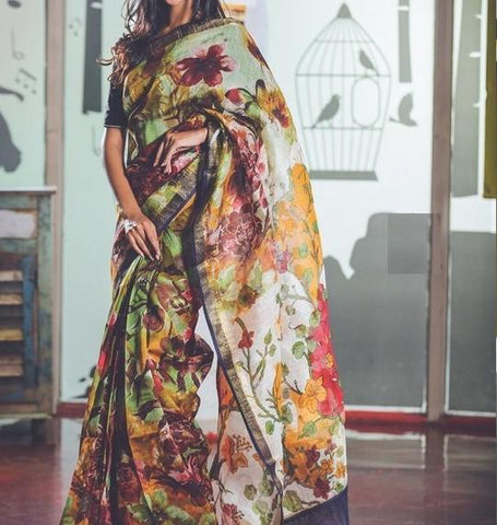 Amazing Multi Color Digital Printed Saree MS-1013