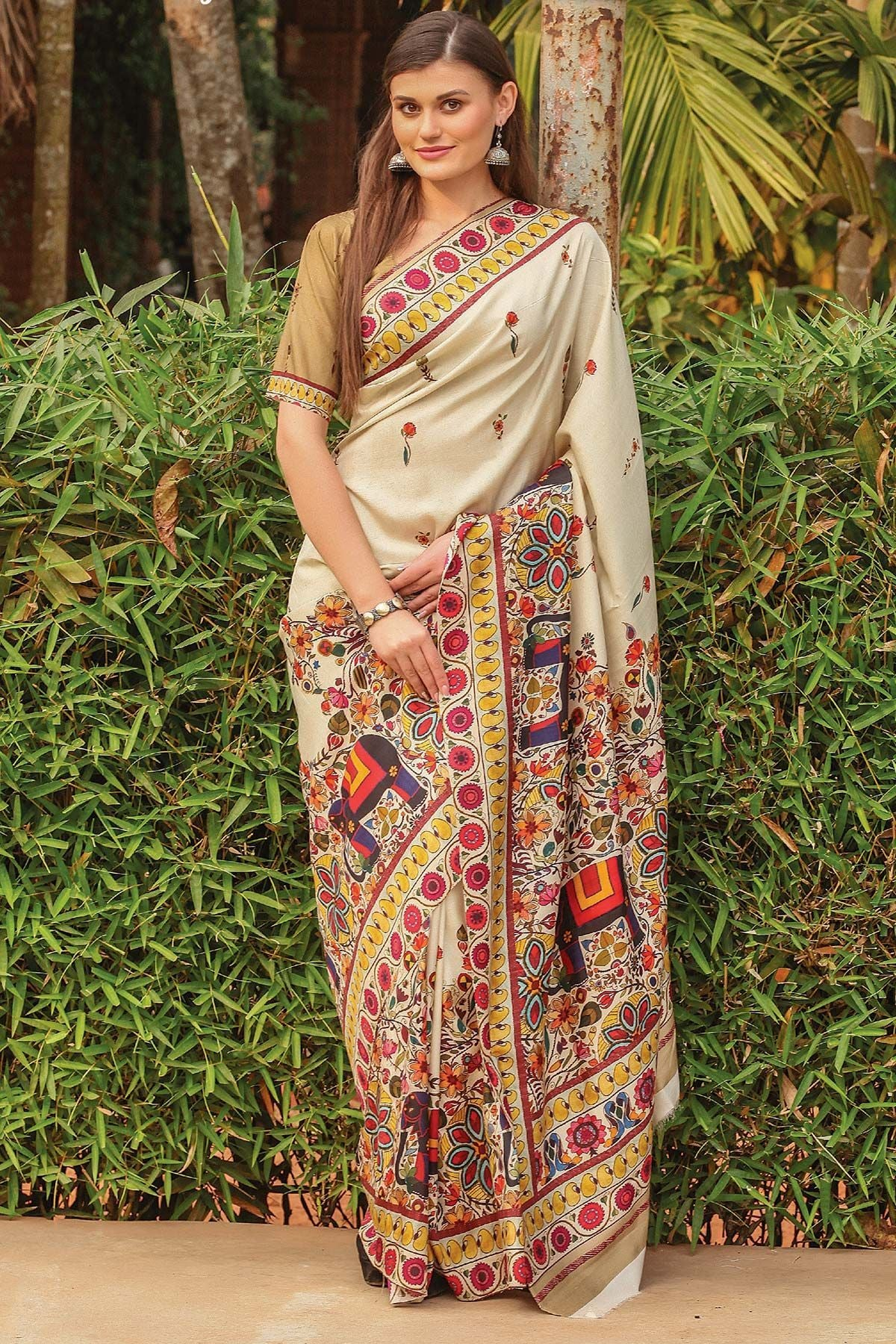 Stunning Off White Color Linen Digital Printed Saree MS-1140