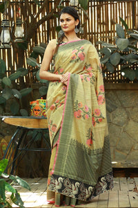 Beautiful Light Olive colour Linen Digital printed Silk Saree MS-1109