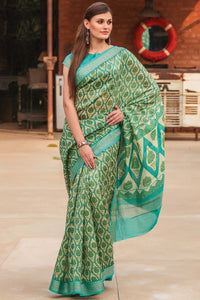 Beautiful Green Color Linen Digital Printed Saree MS-1146
