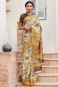 Fancy Multi Color Linen Digital Printed Saree MS-1144