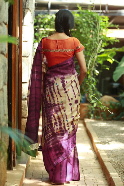 Awsome Purple And Cream colour Linen Digital printed Silk Saree MS-1098
