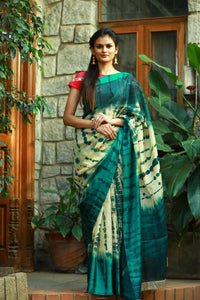 Deep Green And Cream colour Linen Digital printed Silk Saree MS-1096