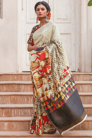 Stunning Off White Color Linen Digital Printed Saree MS-1143