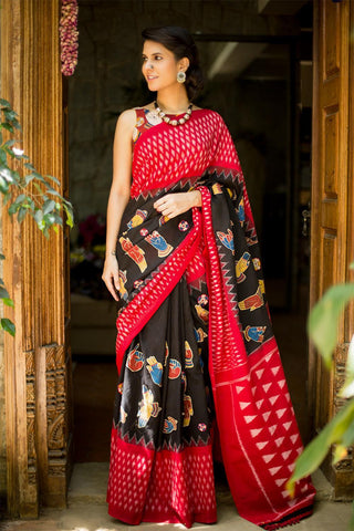 Beautiful Black colour Linen Digital printed Silk Saree MS-1097