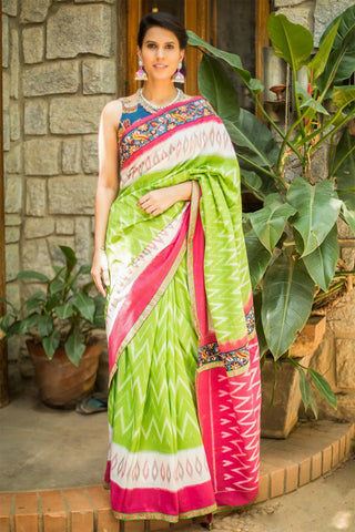 Beautiful Lime Green And White Color Linen Digital Printed Saree MS-1095