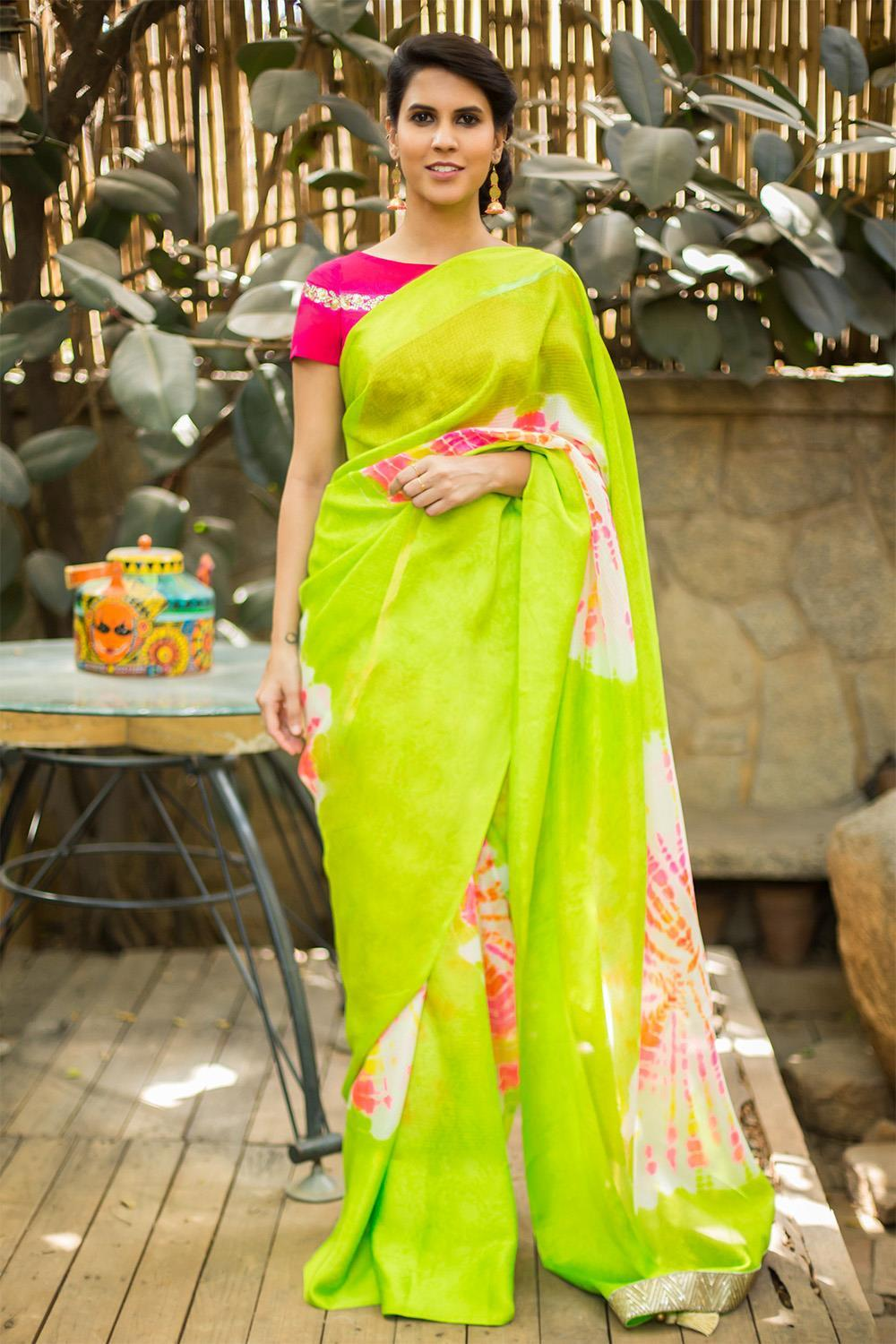 Beautiful Lime Green Color Linen Digital Printed Saree MS-1093