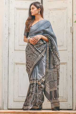 Awsome Gray Color Linen Digital Printed Saree MS-1126