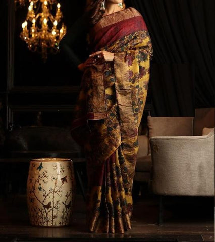 Graceful Mustered Color Linen Digital Printed Saree MS-1022