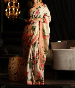 Party Wear Off White Color Digital Printed Saree MS-1023