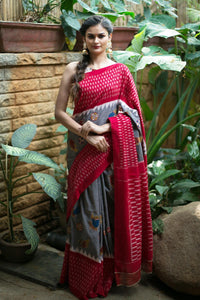 Awsome Black  Color Lenen Digital Printed Saree MS-1090