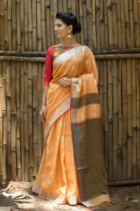 Awsome Apricot Pure  Lenen Digital Printed Saree MS-1089