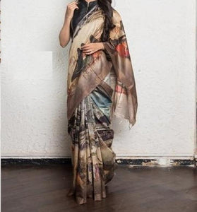 Outstanding Multi Color Linen Digital Printed Saree MS-1026