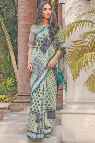 Awsome Multi Color Linen Digital Printed Saree MS-1120