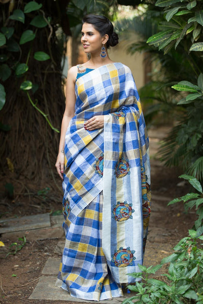 Beautiful Blue Mustard And Silver Color Linen Digital Printed Saree MS-1085