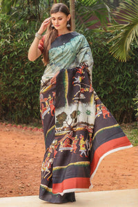 Outstanding Multi Color Linen Digital Printed Saree MS-1117