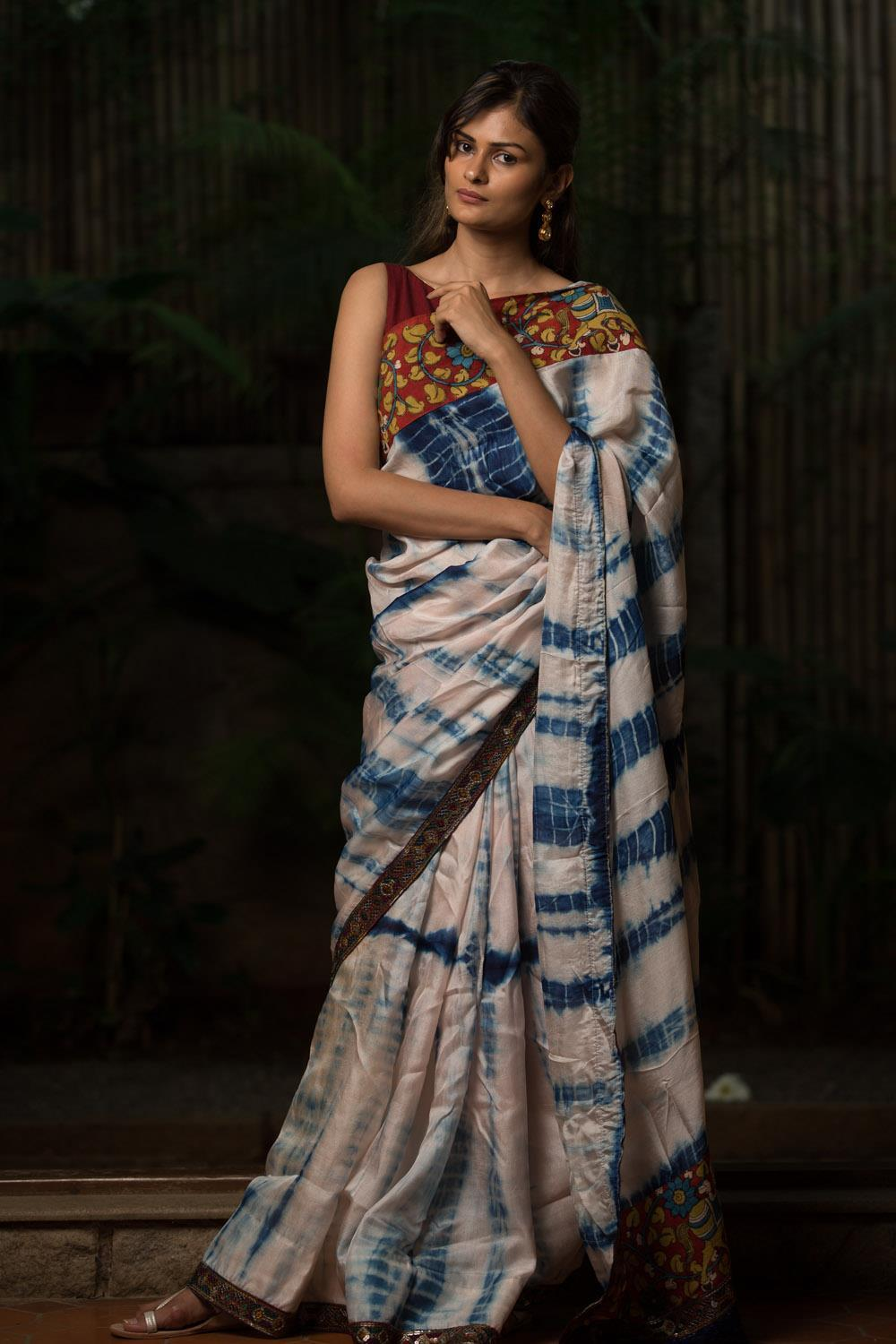 Beautiful White And Blue Color Linen Digital Printed Saree MS-1084