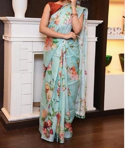 New Look Sky Blue Color Digital Printed Saree MS-1030