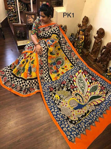 KalamKari Linen Digital Printed Saree MS-1225