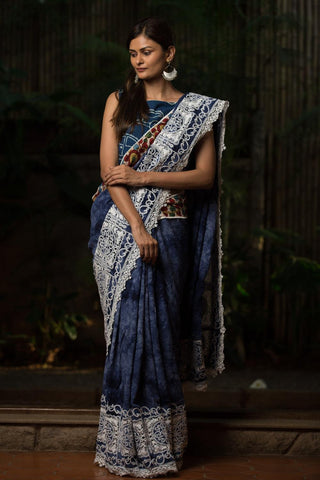 Awsome Indigo Blue Color Lenen Digital Printed Saree MS-1083