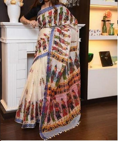 OutStanding Off White Color Digital Printed Saree MS-1032