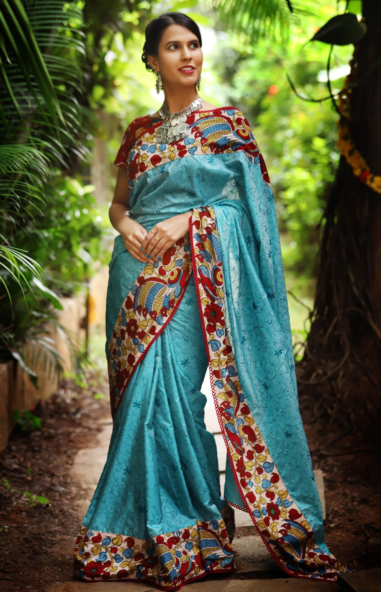 Awsome Blue Color Thread Lenen Digital Printed Saree MS-1080