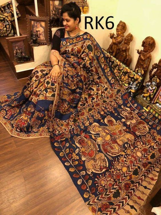 KalamKari Linen Digital Printed Saree MS-1228