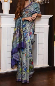 Gorgeous Royal Blue Color Digital Printed Saree MS-1034