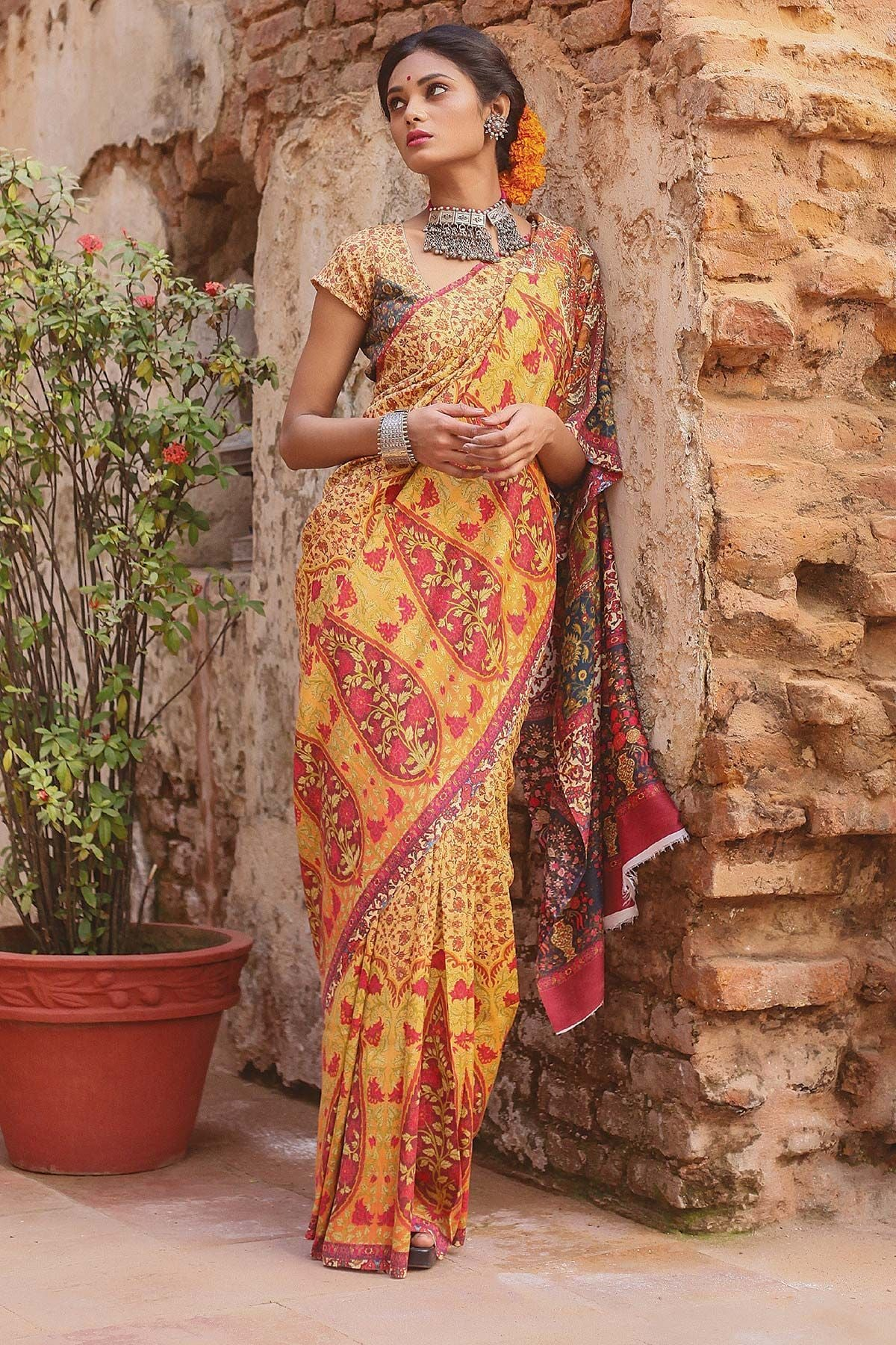 Lovely Yallow Color Linen Digital Printed Saree MS-1115