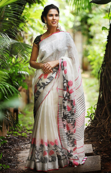 Beautiful White Color Flora Weave Linen Digital Printed Saree MS-1076