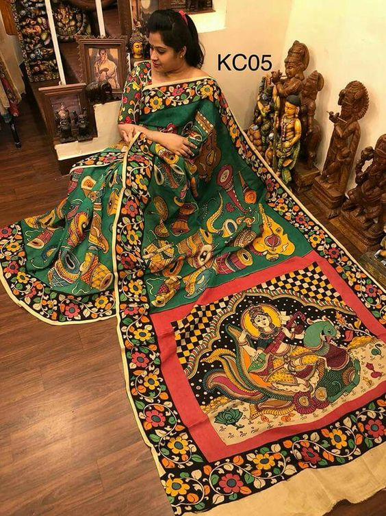 KalamKari Linen Digital Printed Saree MS-1233